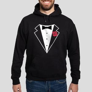 Funny Tuxedo [red rose] Hoodie (dark)